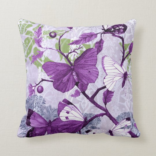 Purple Butterflies on a Branch Throw Pillow