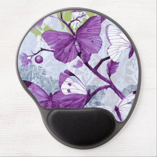 Purple Butterflies on Branches Gel Mouse Pad