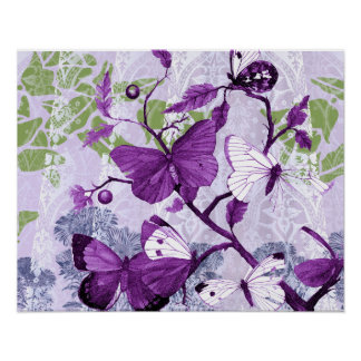 Purple Butterflies on Branches Print