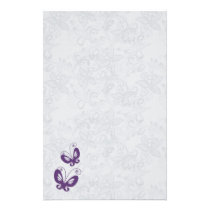 Purple butterflies on silver floral Wedding Stationery