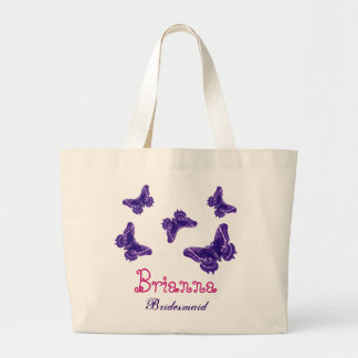 Purple Butterflies Personalized Name Bridesmaid Large Tote Bag