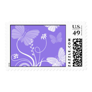 Purple butterflies postage