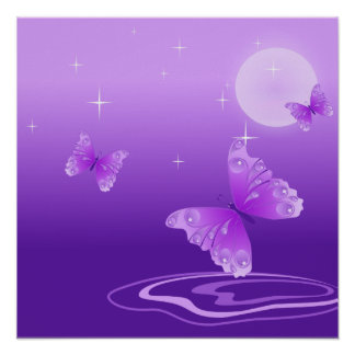 Purple Butterflies Poster