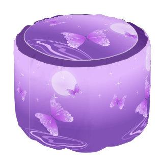 Purple Butterflies Pouf