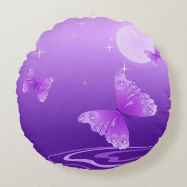 Purple Butterflies Round Pillow