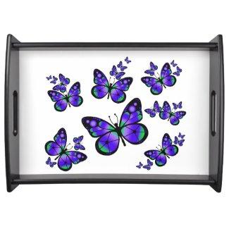 Purple Butterflies Serving Platters
