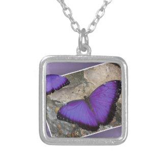 Purple Butterflies Square Pendant Necklace