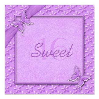 Purple Butterflies Sweet Sixteen Invitation