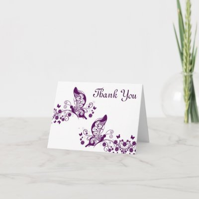 Purple butterflys thank you cards