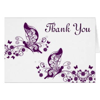 Purple butterflies thank you cards