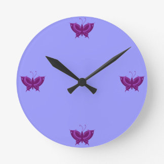 Purple Butterfly Wall Clocks Zazzle