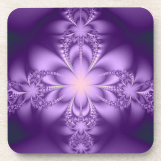 Purple butterflower beverage coaster