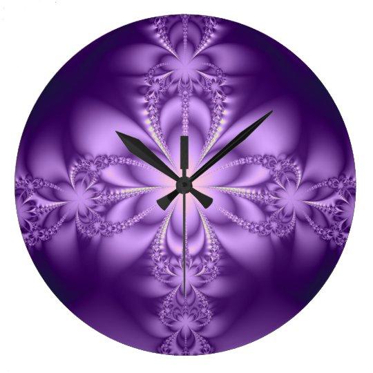 Purple butterflower large clock