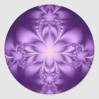 Purple butterflower classic round sticker