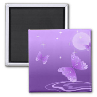 PURPLE BUTTERFLY 2 INCH SQUARE MAGNET
