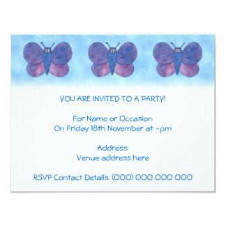 Purple Butterfly. 4.25x5.5 Paper Invitation Card