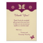 Purple Butterfly 4x5 Flat Wedding Thank You Card