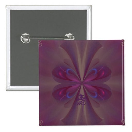 Purple Butterfly Abstract Art 2 Inch Square Button