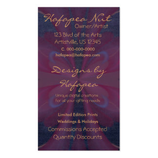 Purple Butterfly Abstract Art Double-Sided Standard Business Cards (Pack Of 100)