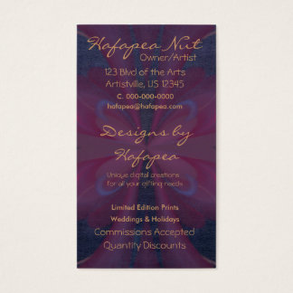 Purple Butterfly Abstract Art Business Card