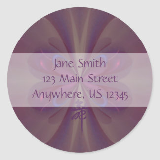 Purple Butterfly Abstract Art Classic Round Sticker