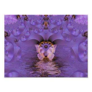 Purple Butterfly Abstract Poster