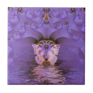 Purple Butterfly Abstract Small Square Tile