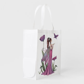 Purple Butterfly and Fairy Fantasy Art Grocery Bags
