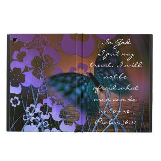 Purple butterfly and flowers bible verse Psalm iPad Air Cover