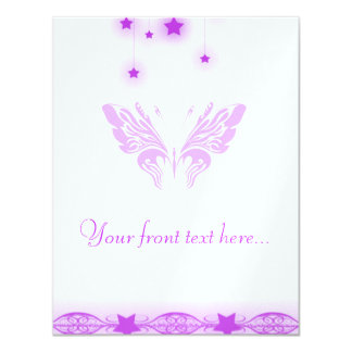 Purple Butterfly and Stars Invitations
