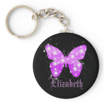 Purple butterfly and stars personalized with name keychain