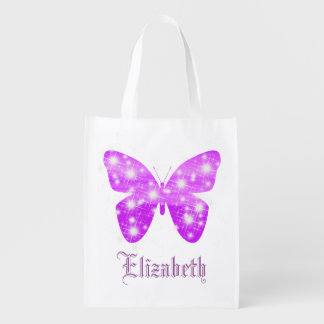 Purple butterfly and stars personalized with name reusable grocery bag