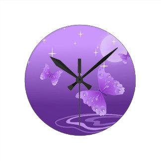 Purple Butterfly Animals Beautiful Love Destiny Round Clock