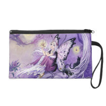 Purple Butterfly anime Fairy and Black cats Wristlet Purse