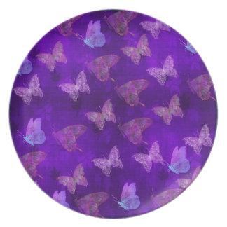 Purple Butterfly Art Dinner Plates