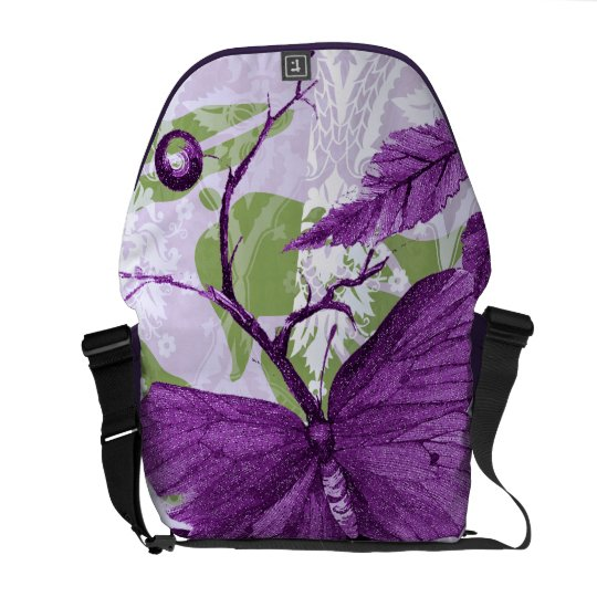 Purple Butterfly at the Window Courier Bag