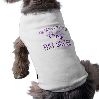 Purple Butterfly Big Sister to Be Dog Tee Shirt