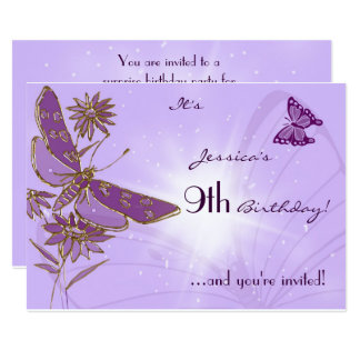 Purple Butterfly Birthday Invitation Card