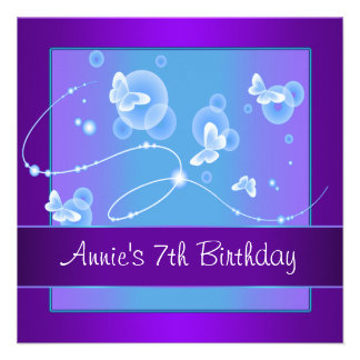 Purple Butterfly Birthday Party Custom Announcements