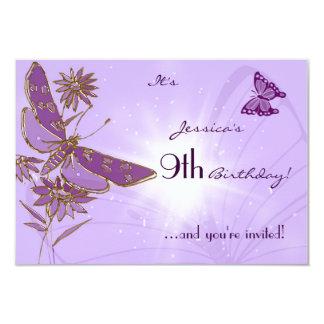 Purple Butterfly Birthday RSVP Invitation Card
