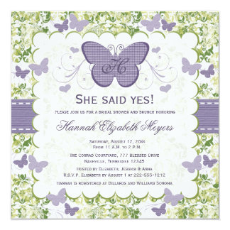 Purple Butterfly Bridal Shower Invitations Invites