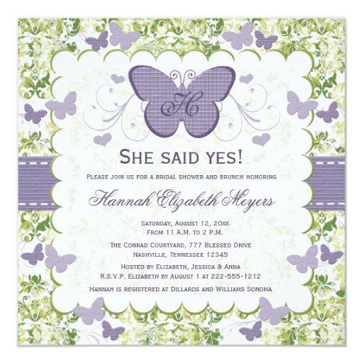 """Purple Butterfly Bridal Shower Invitations Invites 5.25"""" Square Invitation Card"""