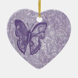 Purple Butterfly Ceramic Ornament