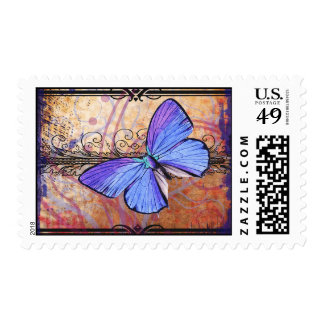 Purple Butterfly Collage Postage Stamps