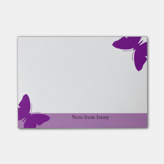 Purple Butterfly Custom Text Purple Background Post-it Notes
