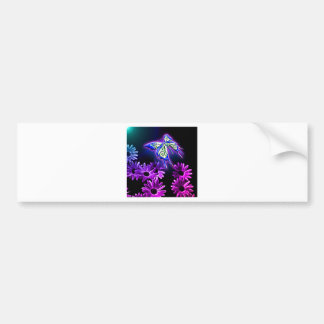 Purple Butterfly Daisy Bumper Sticker