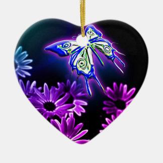 Purple Butterfly Daisy Ceramic Ornament