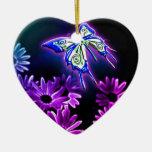 Purple Butterfly Daisy Ornaments