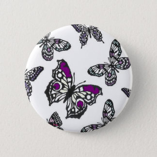 Purple Butterfly Design Pinback Button