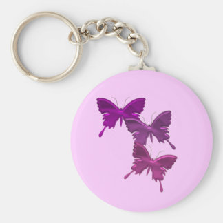 Purple Butterfly Design Pink Keychain